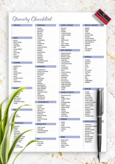Printable Grocery Checklist Template PDF Download