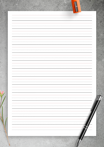 graphic regarding Printable Handwriting Paper called Free of charge Printable 50 percent Inch Rule Handwriting Paper PDF Down load