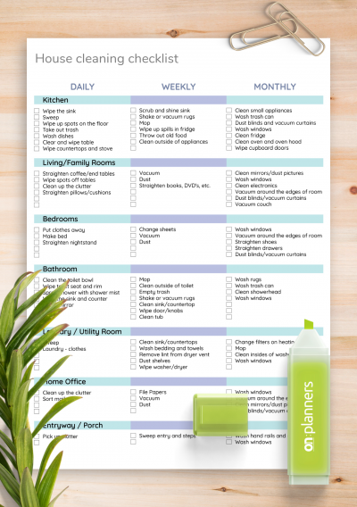Download House Cleaning Checklist Template - Printable PDF