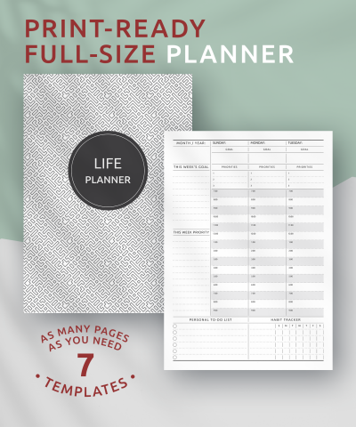Printable Life Planner Undated - Original Style PDF Download
