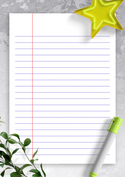 Printable Lined Paper Template - Wide Ruled 8.7mm blue PDF Download