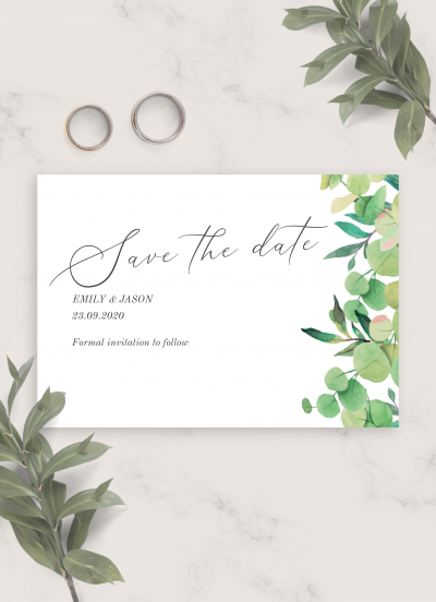 Download Lush Greenery Wedding Save The Date Card - Printable PDF
