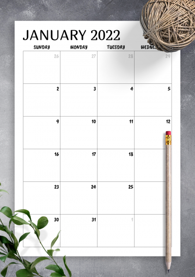 Download Minimal monthly calendar - Printable PDF