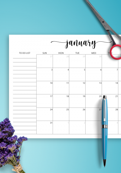 Printable Monthly Calendar with To-Do List PDF Download