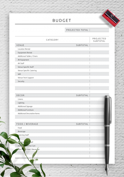 Download Party Budget Template - Original Style - Printable PDF
