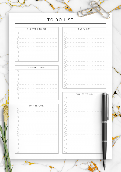 Download Party To Do List - Original Style - Printable PDF
