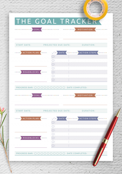 Download Personal Goal Tracker - Casual Style - Printable PDF