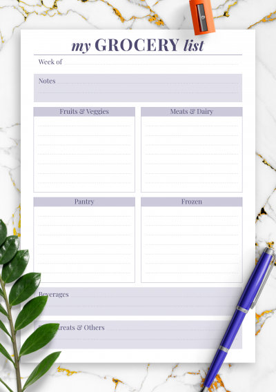 Download Personal grocery list - Printable PDF