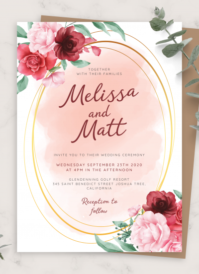 Download Rose Bouquet Watercolor Wedding Invitation - Printable PDF