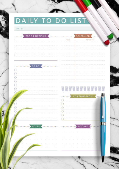 Download Scheduled Daily To Do List - Casual Style - Printable PDF