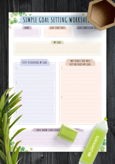 Download Simple Goal Setting Worksheet - Floral Style - Printable PDF