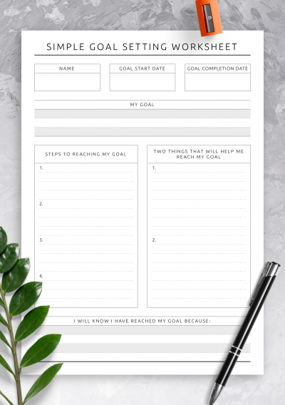 Download Simple Goal Setting Worksheet - Original Style - Printable PDF