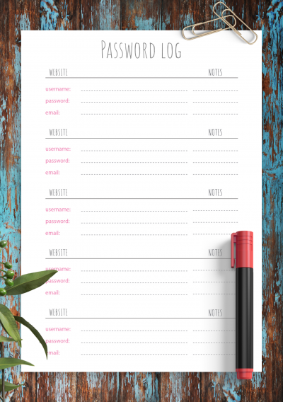 Printable Simple Gray and Pink Font Password Log Template PDF Download