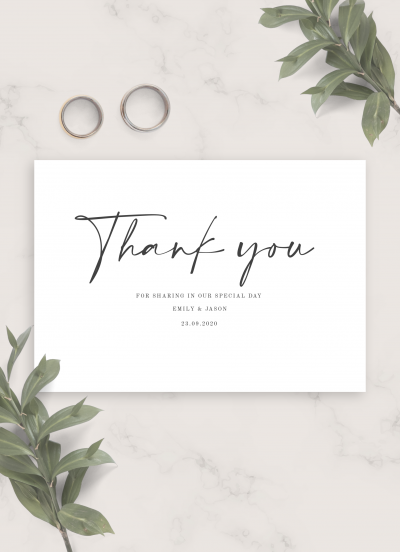 Download Simple Minimalist Wedding Thank You Card - Printable PDF