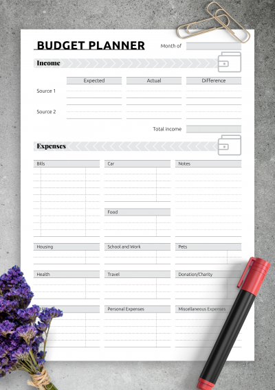 Printable Simple monthly budget template PDF Download