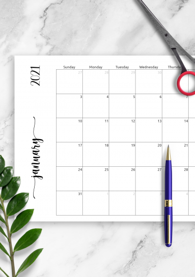 Printable Simple Monthly Calendar Horizontal PDF Download