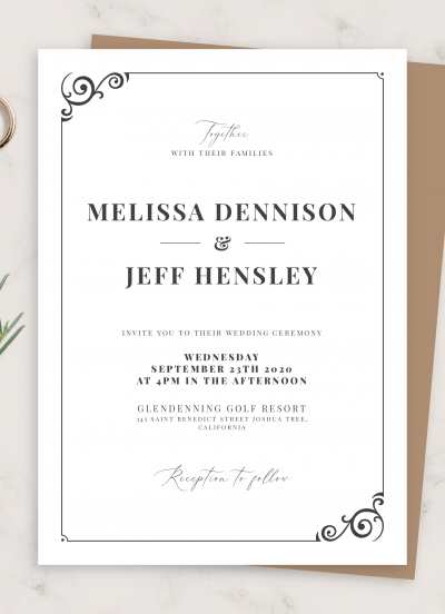 Download Simple Vintage Wedding Invitation - Printable PDF