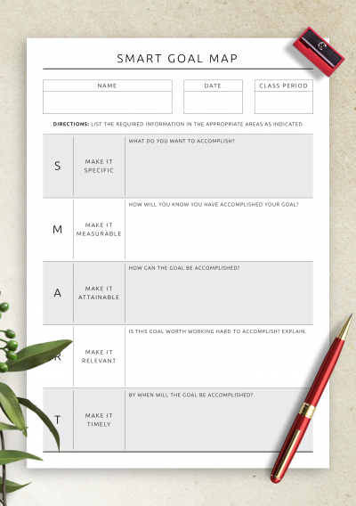 Printable SMART Goal Map PDF Download