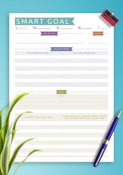 Download SMART Goal Template - Casual Style - Printable PDF