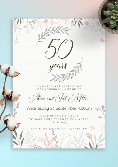 Printable Soft Floral Anniversary Invitation PDF Download