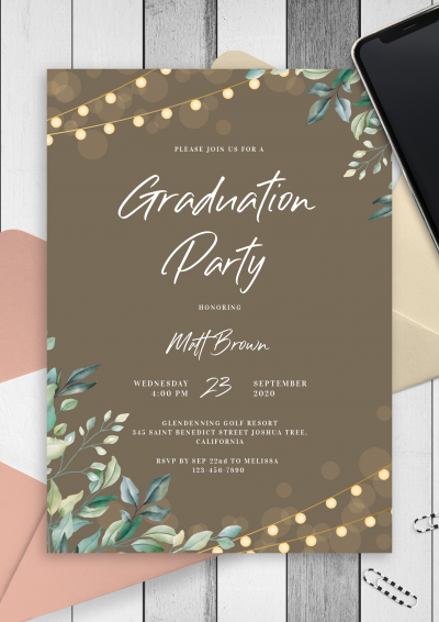 Download String Lights Graduation Invitation - Printable PDF