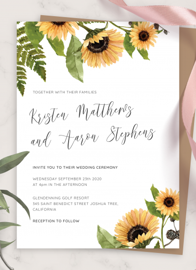 Printable Sunflower Rustic Wedding Invitation PDF Download
