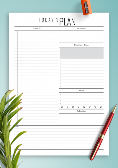 Printable Today's Plan template with hourly schedule PDF Download