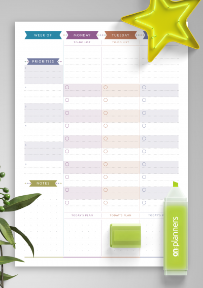 Printable Two Page Weekly To Do List - Casual Style PDF Download