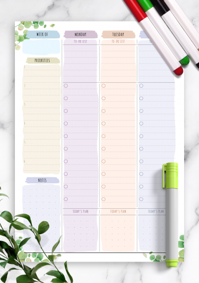 Printable Two Page Weekly To Do List - Floral Style PDF Download