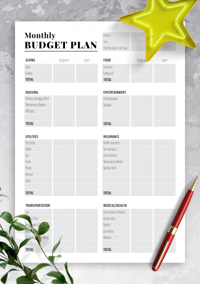 Printable Two-pages monthly budget plan PDF Download