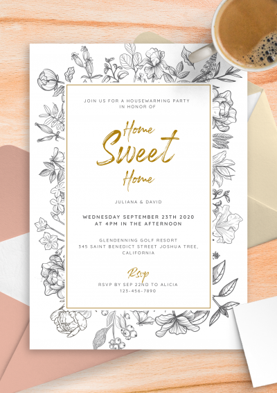 Printable Vintage Flowers Housewarming Invitation PDF Download