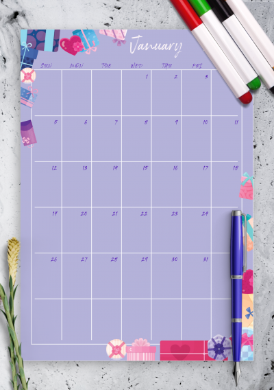 Download Violet Monthly Birthday Calendar - Printable PDF