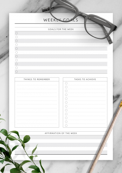 Printable Weekly Goals - Original Style PDF Download