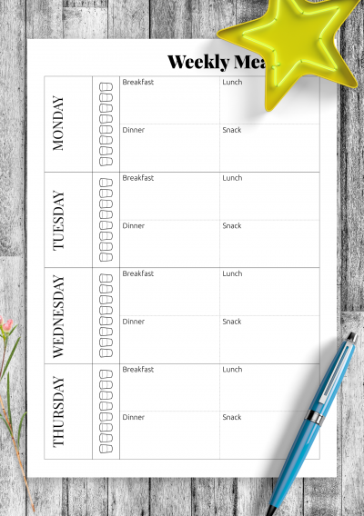 Download Weekly meal planner - Printable PDF
