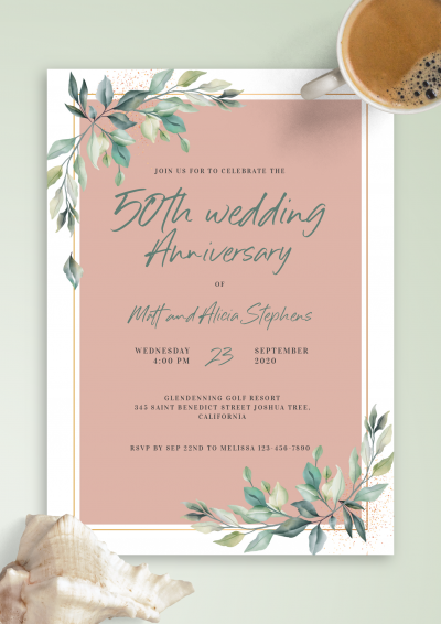 Download Willow Branch Anniversary Invitation - Printable PDF