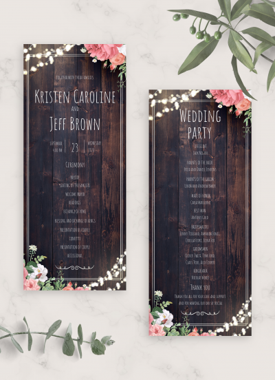 Printable Wood Rustic Wedding Program Card PDF Download