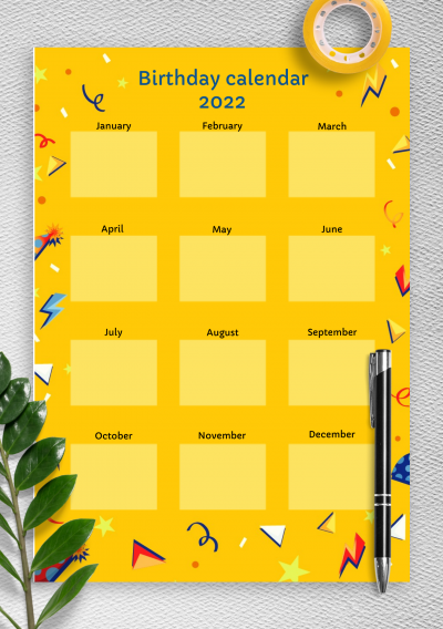 Printable Yellow Confetti Birthday Calendar PDF Download