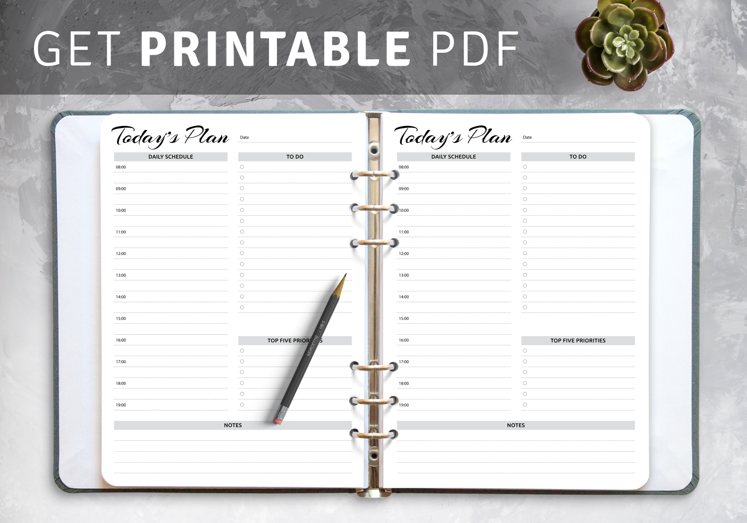 Daily hourly planner templates PDF