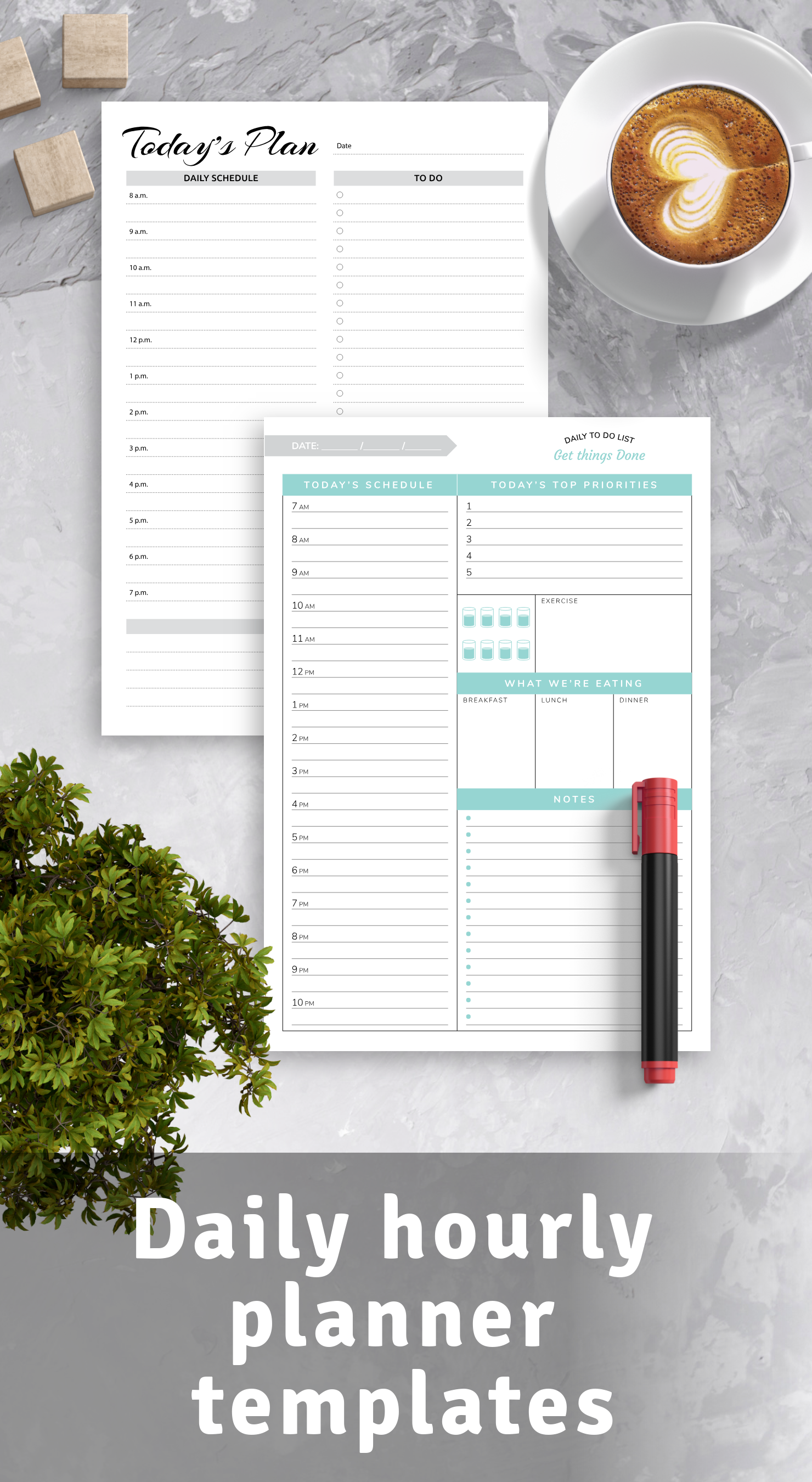 Download daily hourly planner templates