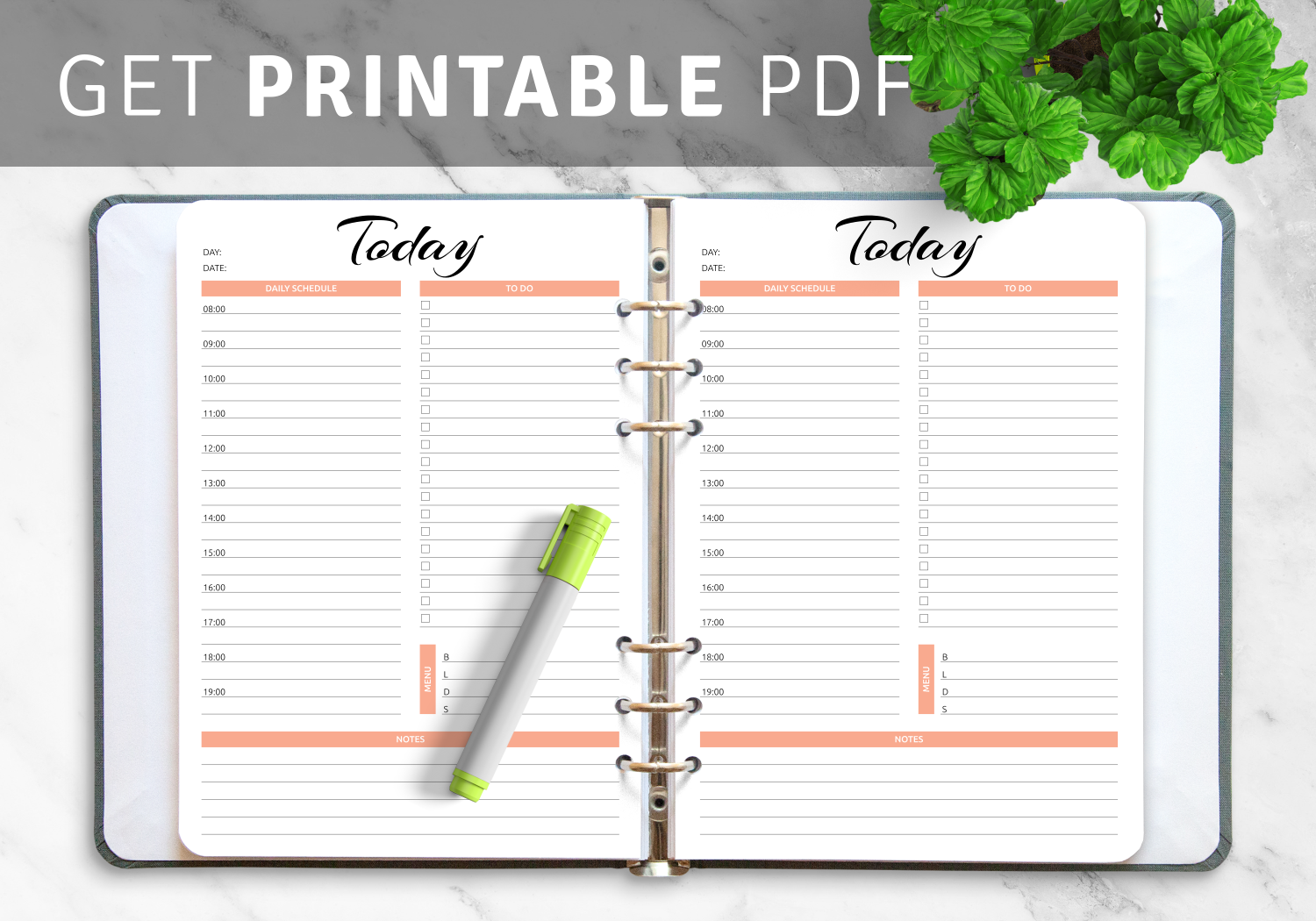 Download daily timetable templates