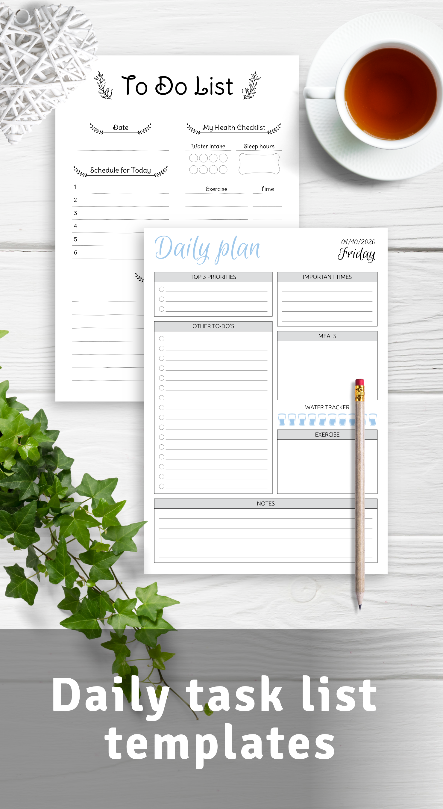 Printable daily task list templates