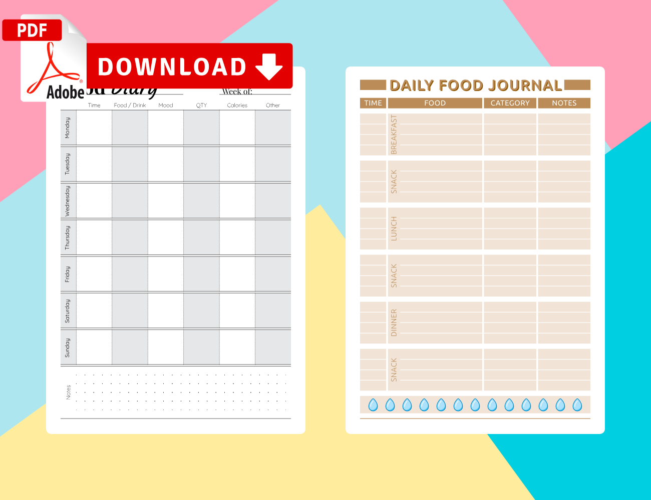 Download Food Diary Templates