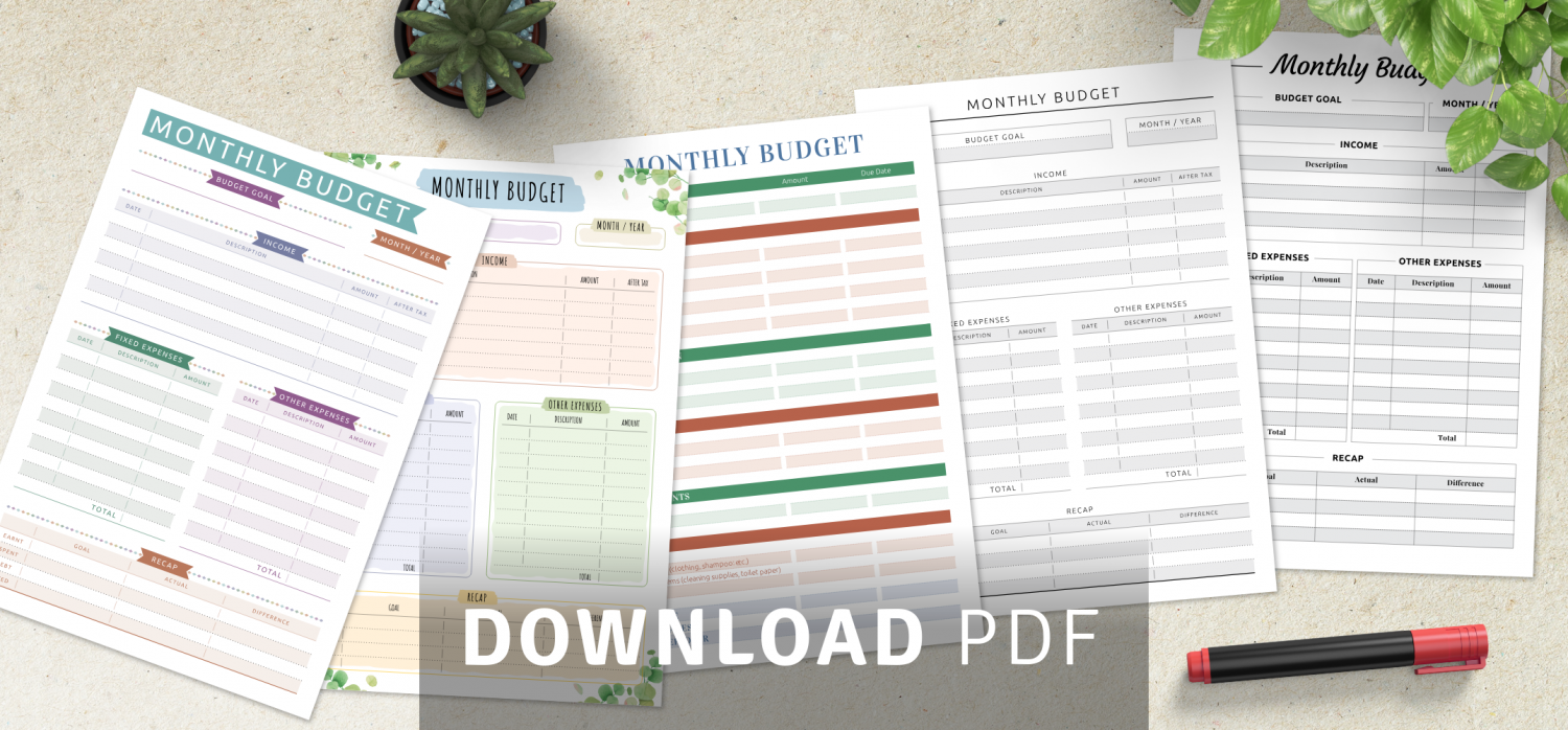 Monthly Budget Planner Templates