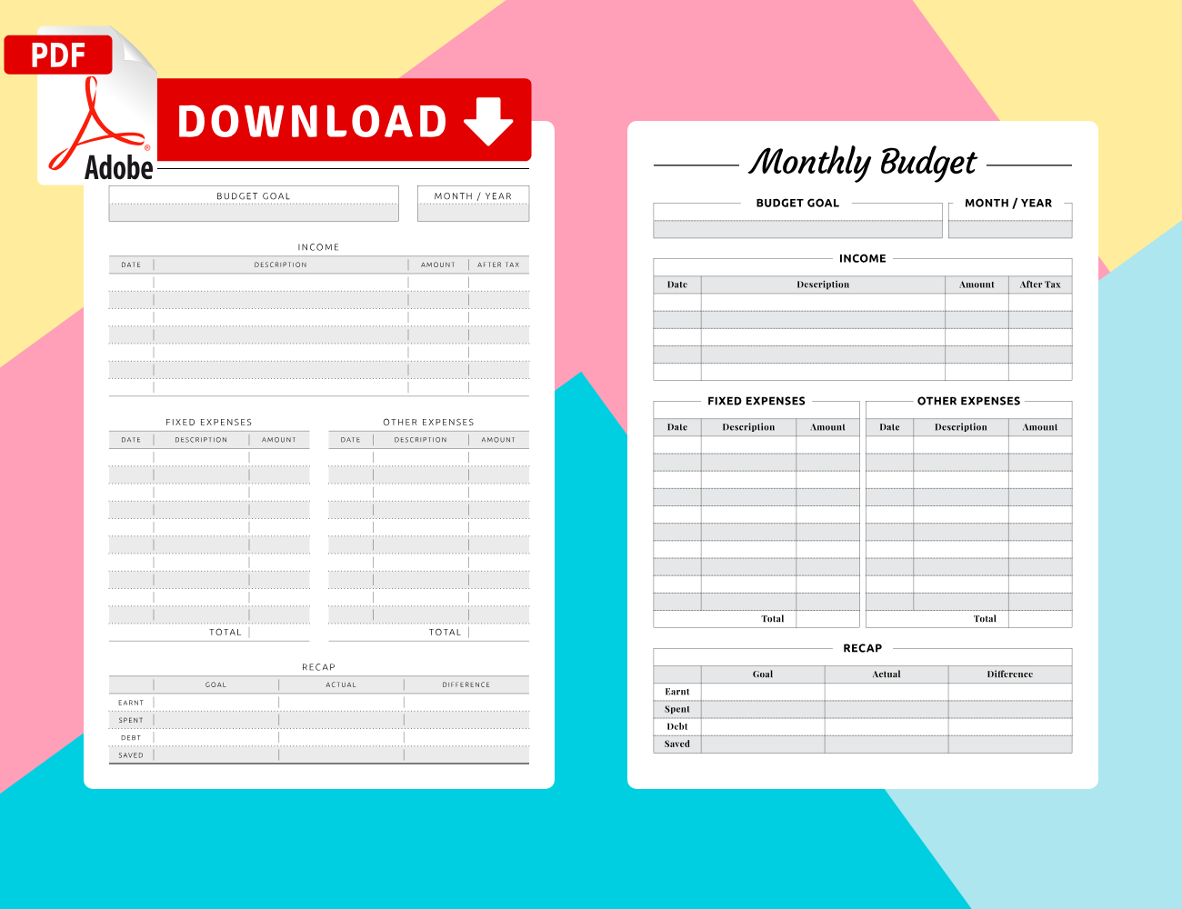 Get Monthly Budget Printables