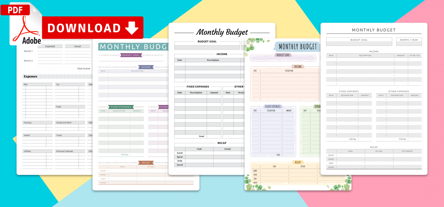 Download Monthly Budget Templates