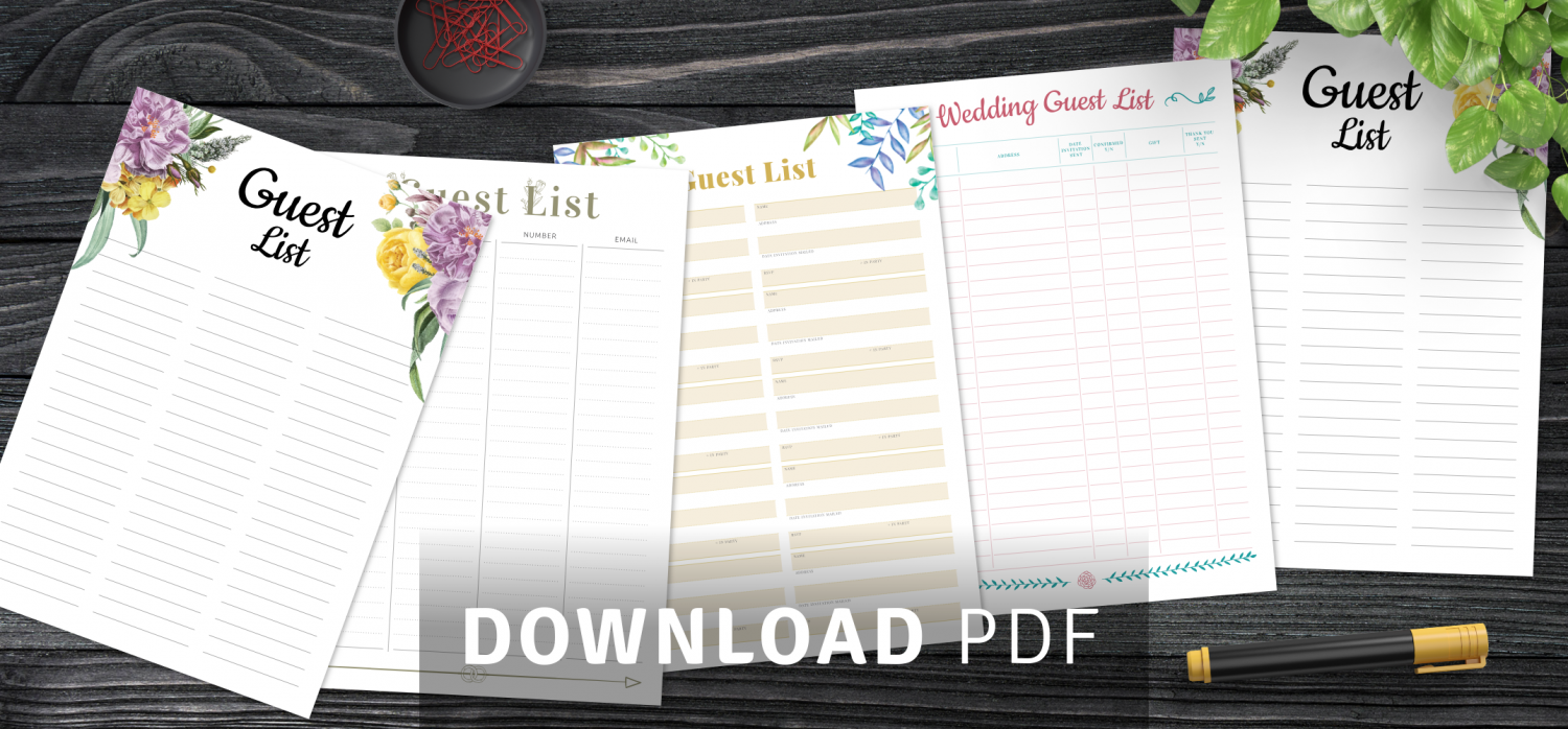Wedding Guest List Templates