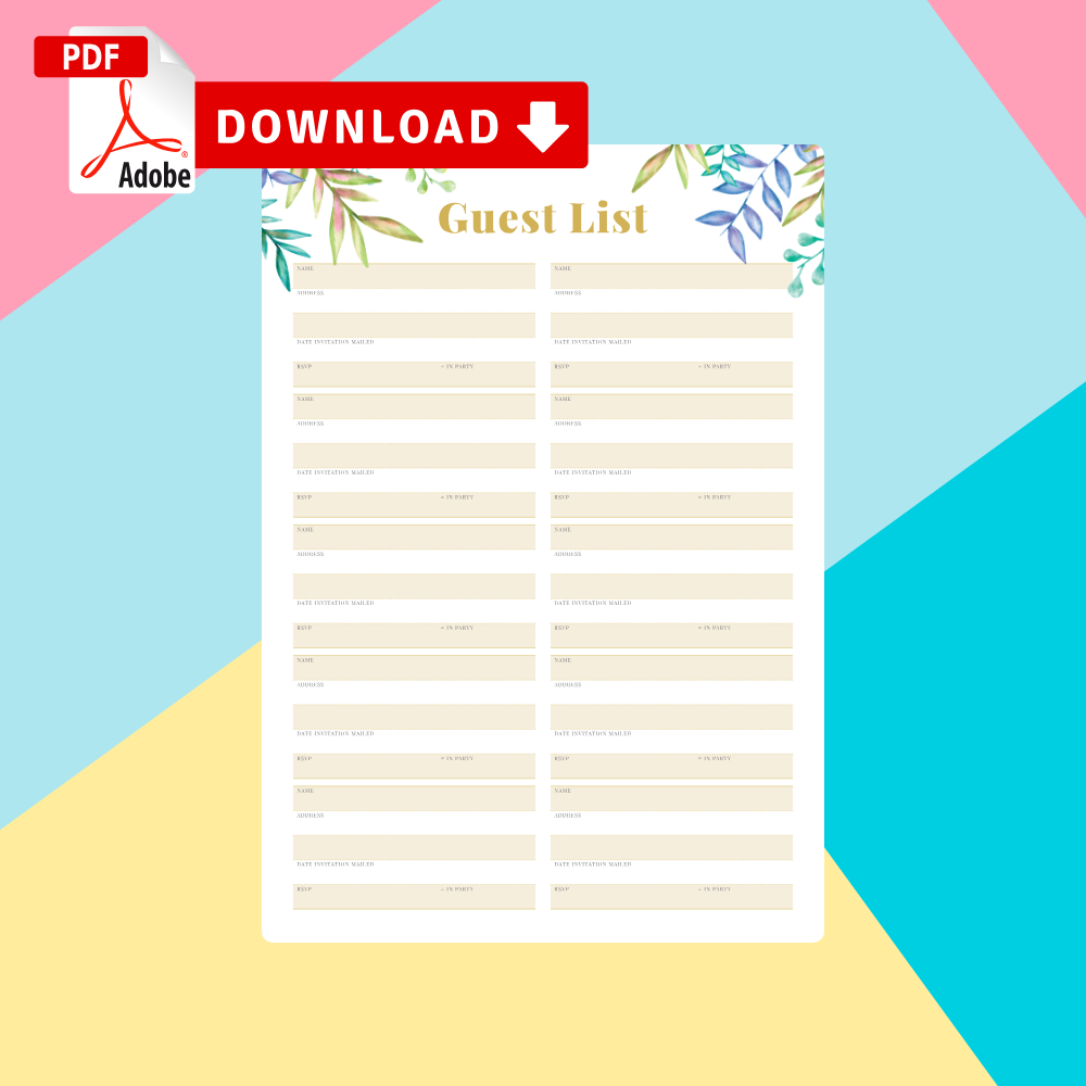 Download Wedding Guest List Templates