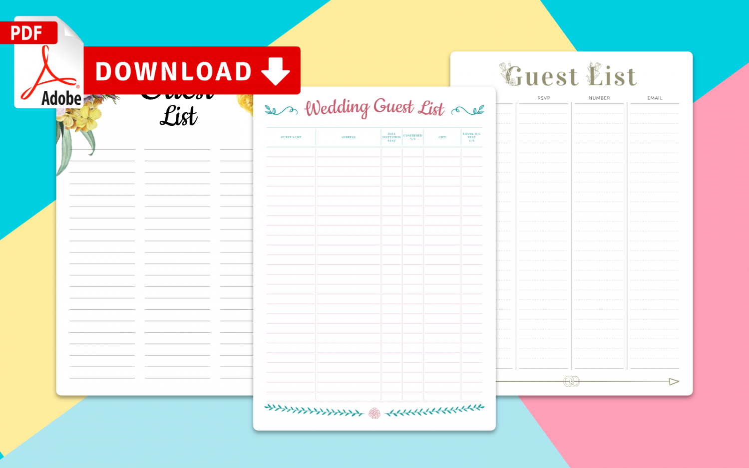 Collection of Wedding Guest List Templates
