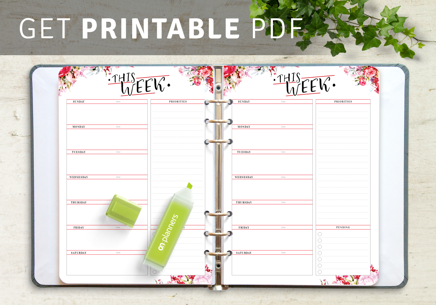 Best week at a glance templates PDF