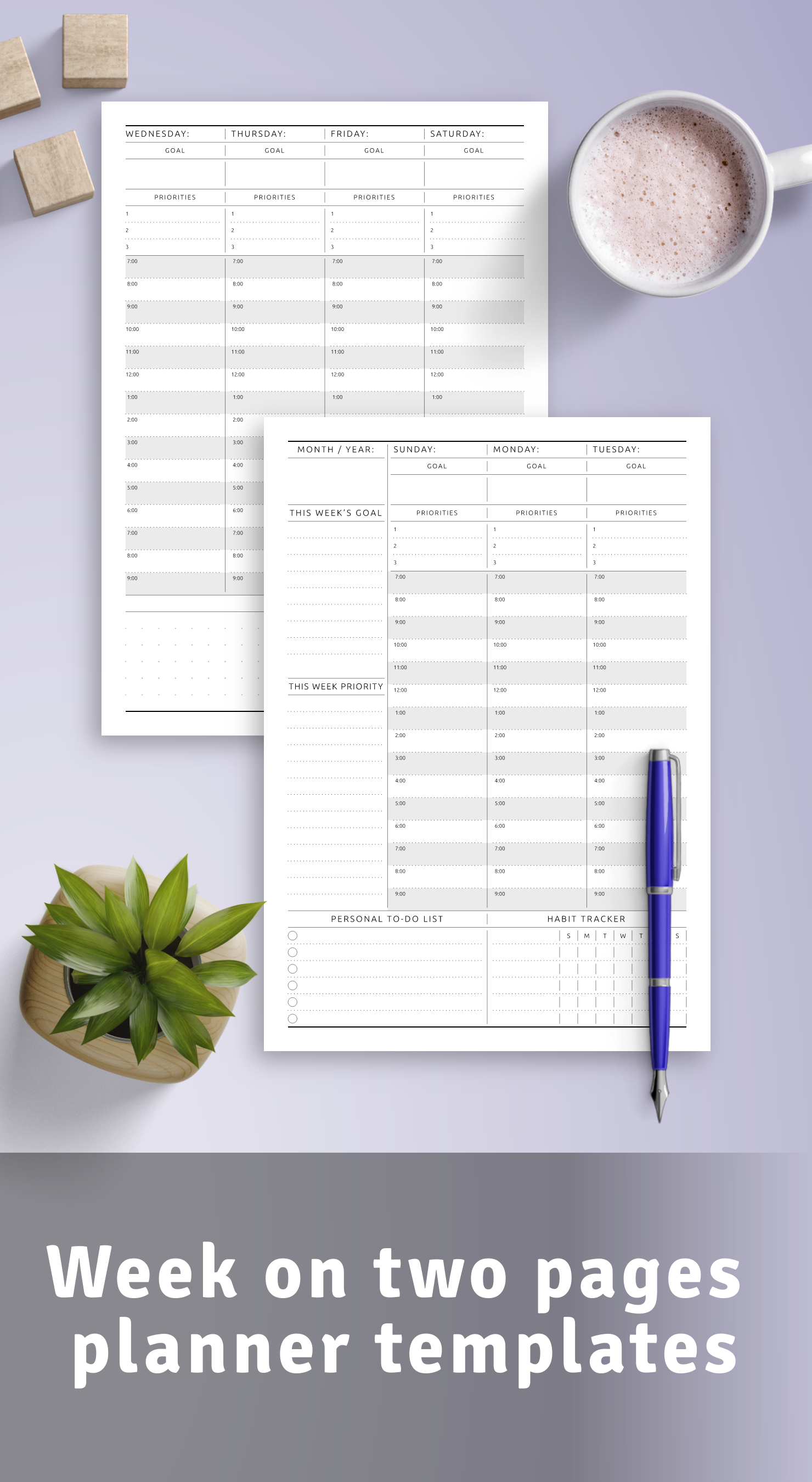 Week on two pages planner templates PDF